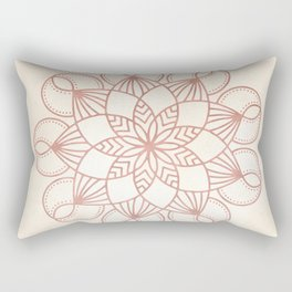 Mandala Blooming Rose Gold on Cream Rectangular Pillow