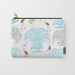 Vintage blue gray orange flamingo peacock drawing Carry-All Pouch