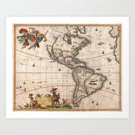 1658 Map of North America and South America with 2015 enhancements Art Print