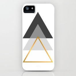 Triangles art, Black, white and gold iPhone Case