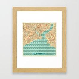 Istanbul Map Retro Framed Art Print