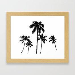 Monochrome tropical palms Framed Art Print