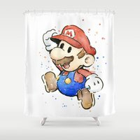 mario bros Shower Curtains featuring Mario Watercolor by Olechka