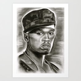 50 Cent in Black and White Art Print