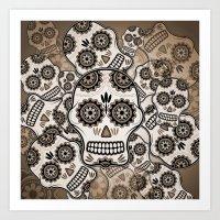 sugar skulls Art Prints featuring Sugar skulls by nicky2342