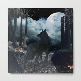 The lonely wolf in the dark night Metal Print