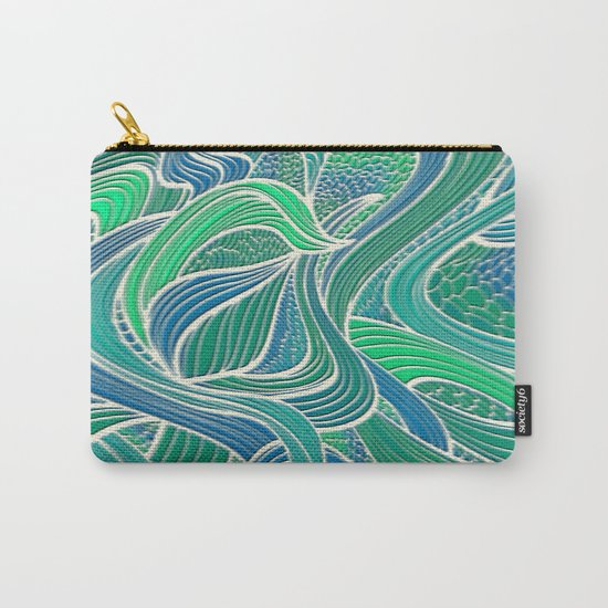 Abstract Wavy Leaves Carry-All Pouch