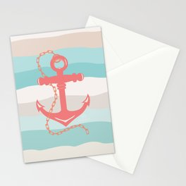 AFE Coral Anchor Nautical Art Stationery Cards