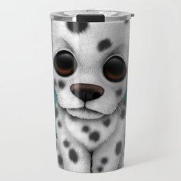 Cute Dalmatian Puppy Dog on Blue Travel Mug