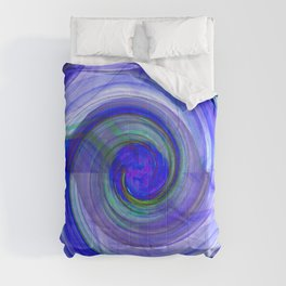 abstract cyclonic twist in blue Comforters