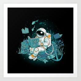 A reader lives a thousand lives - Cosmonaut Under The Sea Art Print