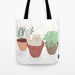 Cat and Plants Tote Bag