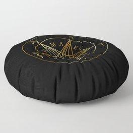 Wiccan symbol golden Sigil of Baphomet- Satanic god occult symbol Floor Pillow