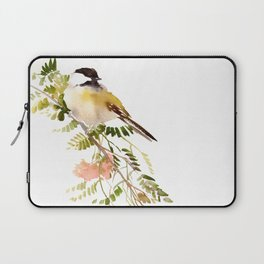 Chickadee Asian Style Bird and Flowers Zen brush painting Laptop Sleeve