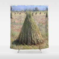 sesame street Shower Curtains featuring Harvested Sesame Crop by taiche