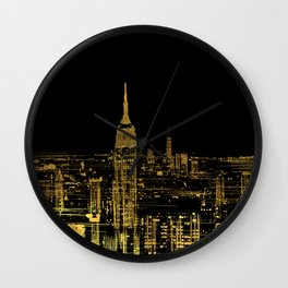 Abstract Gold City  Skyline Design Wall Clock