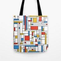 fibonacci Tote Bags featuring Mondrian meets Fibonacci by Studio Fibonacci