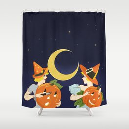Vintage Halloween Costume Party Pumpkin Carving Shower Curtain