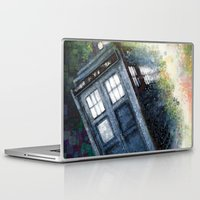 dr who Laptop & iPad Skins featuring Dr. Who Tardis by Mercenary Art Studio