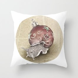 In which a snail is most festive this christmas  Throw Pillow