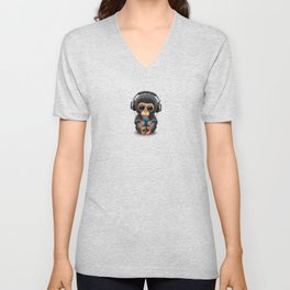 Baby Chimpanzee with Headphones Holding a Cell Phone on Blue Unisex V-Neck