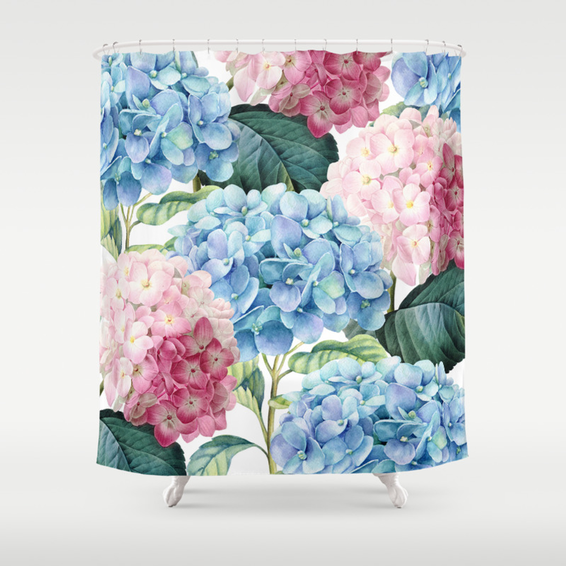 Pink Blue Hydrangea Shower Curtain By