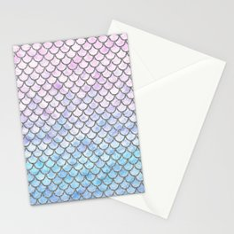 Pastel Mermaid Scales Pattern Stationery Cards