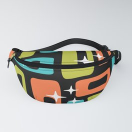 Retro Mid Century Modern Abstract Pattern 222 Orange Chartreuse Turquoise Fanny Pack