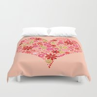 valentines Duvet Covers featuring Valentines - Floral Heart by Andrea Lauren Design