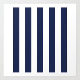 Space cadet blue - solid color - white vertical lines pattern Art Print