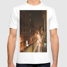 Busy Street White Mens Fitted Tee MEDIUM