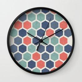 Honeycomb Geometrics, Vintage, Throw-Pillows, Art-Prints Wall Clock
