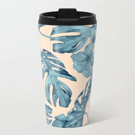 Island Vacay Hibiscus Palm Pale Coral Teal Blue Metal Travel Mug