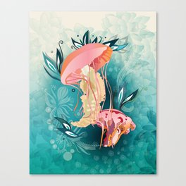 Jellyfish tangling Canvas Print