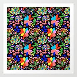 60's Fiesta Floral in Black Art Print