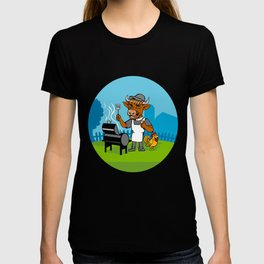 Clergy Cow Minister Barbecue Chef Rooster Caricature T-shirt