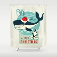 50s Shower Curtains featuring Where is Santa Claus? (background) by Chicca Besso