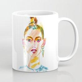 fashion #35: a girl with large earrings Coffee Mug