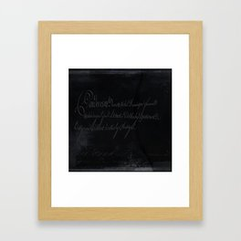 vintage stone throw deep board script texture Framed Art Print