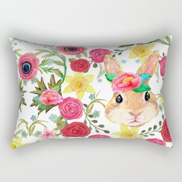 Easter rabbit with spring flowers, watercolor Rectangular Pillow