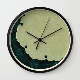 Watanabe Seitei - Cherry Blossoms and Moon - Japanese traditional pattern design Wall Clock