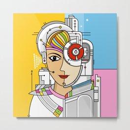 Mujer Robot Metal Print