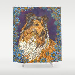 Rough Collie and Blue Flowers Shower Curtain