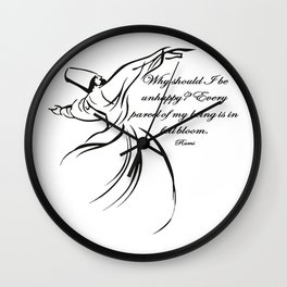 Every Parcel Of My Being Is In Full Bloom Rumi Quote Wall Clock
