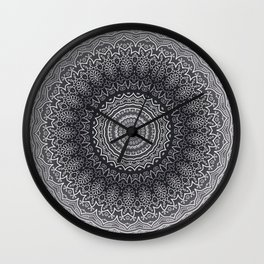 White Line Art Mandala On Grey Wall Clock