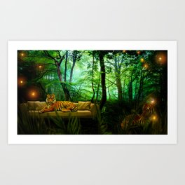 On the couch Art Print