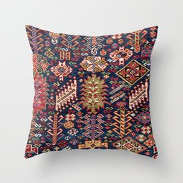 Ornamental Midnight Blue Shekarlu 19th Century Authentic Colorful Zig-Zag Vintage Patterns Throw Pillow