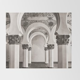 The Historic Arches in the Synagogue of Santa María la Blanca, Toledo Spain Throw Blanket
