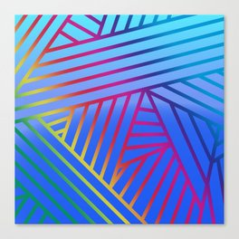 Rainbow Ombre Pattern with Blue Background Canvas Print