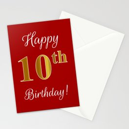 """Elegant """"Happy 10th Birthday!"""" With Faux/Imitation Gold-Inspired Color Pattern Number (on Red) Stationery Cards"""